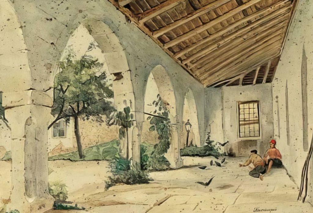 Чернецов Н.Г. Бахчисарай (1834-1836). Бумага, акварель.