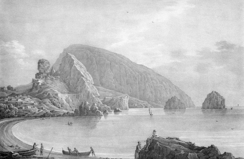 Чернецов Н.Г. Развалины греческой крепости в Гурзуфе (1834-1836). Литография.