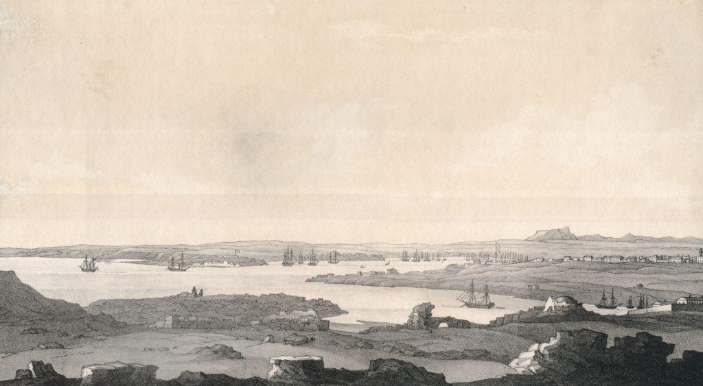 Чернецов Н.Г. Развалины Херсонеса и вид на Ахтиарскую бухту.