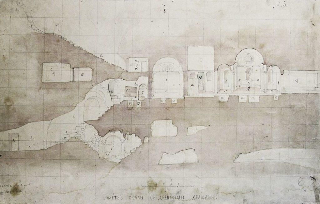Д.М. Струков. Инкерман. Разрез скалы с древними храмами: Свято-Климентовский монастырь (1867).