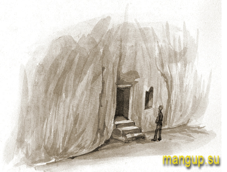 Д.М. Струков. Мангуп. Вход в пещерный храм (1886).
