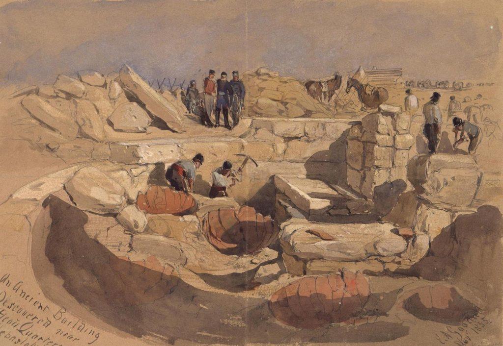 Эдвард Гудолл. Раскопки античного здания вблизи расположения английских войск под Севастополем.