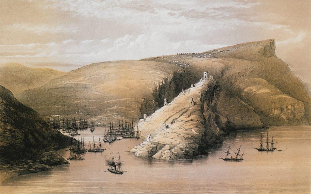 Моттрам Эндрюс. Вид на Балаклавскую бухту и генуэзскую крепость (1856).