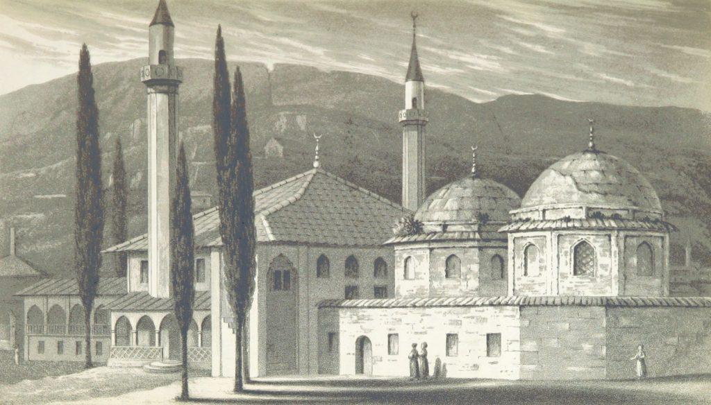 Гробницы крымских ханов. Гравюра по рисунку Вильяма Ньюнэма.