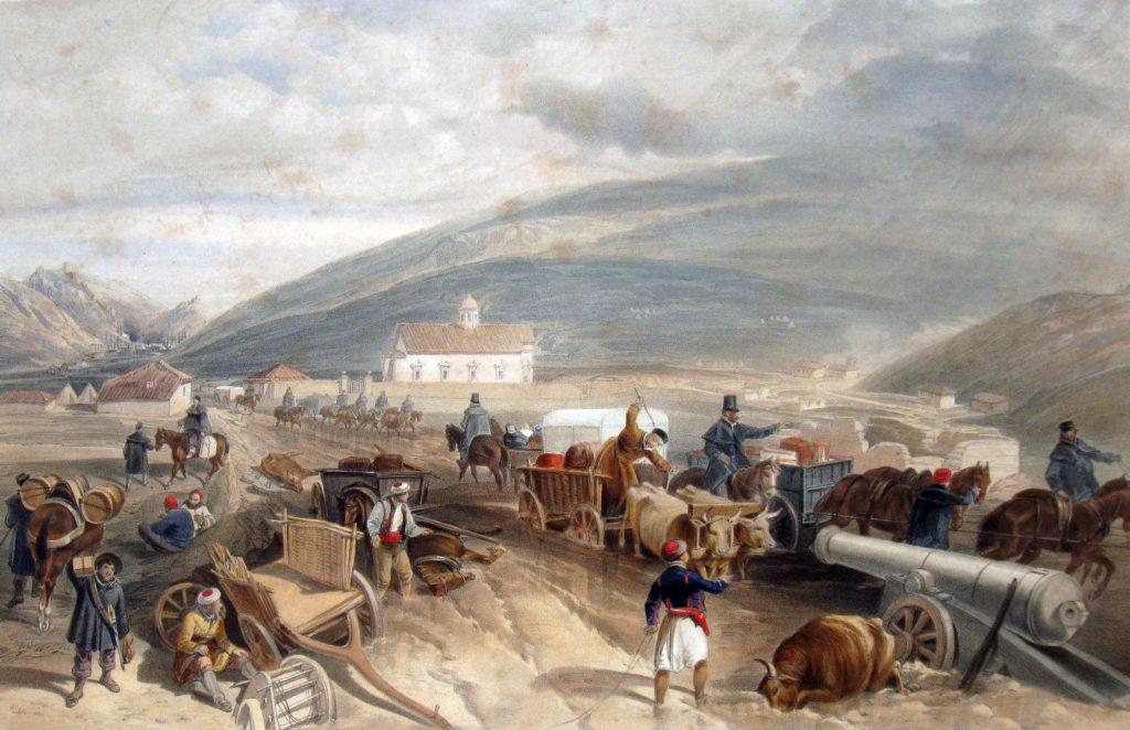 У. Симпсон. Дорога из Балаклавы в Севастополь через село Кади-Кой в дождливый период весны 1855 года.