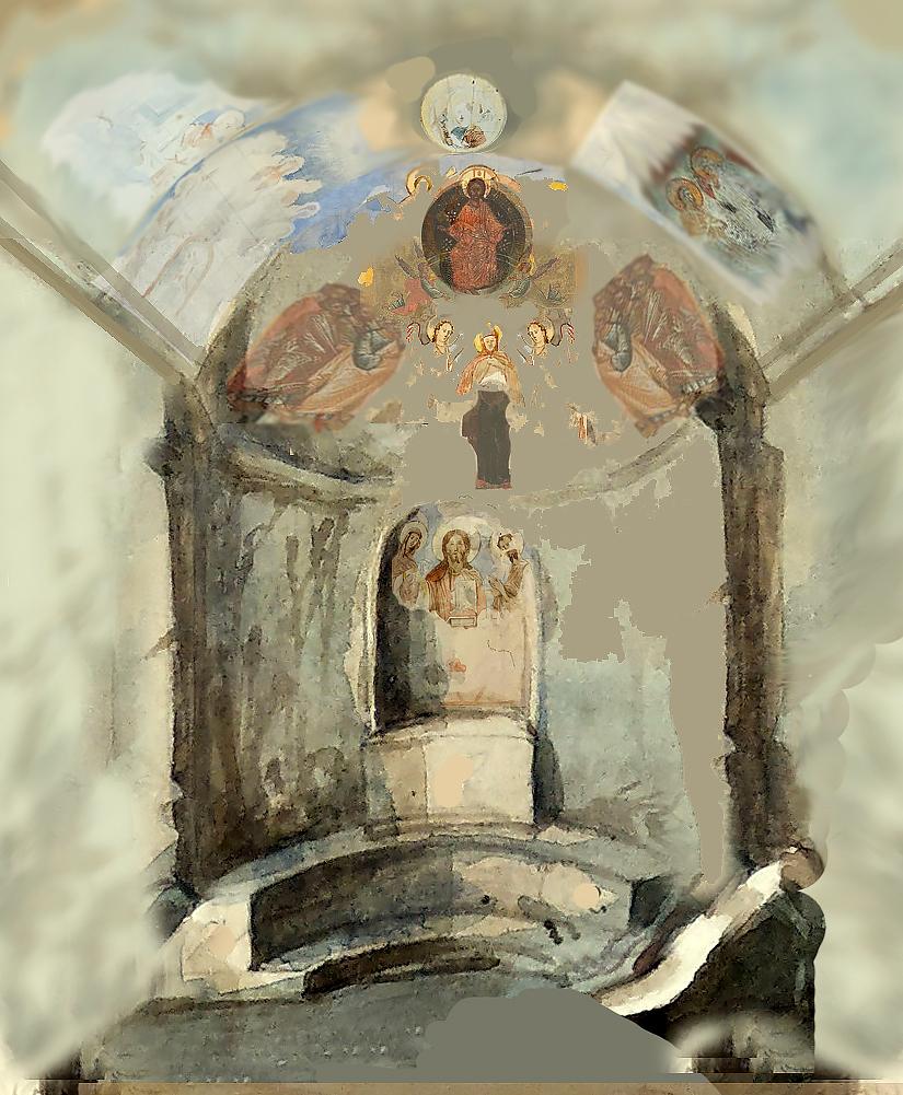 Схема росписи пещерного храма в Георгиевской балке.
