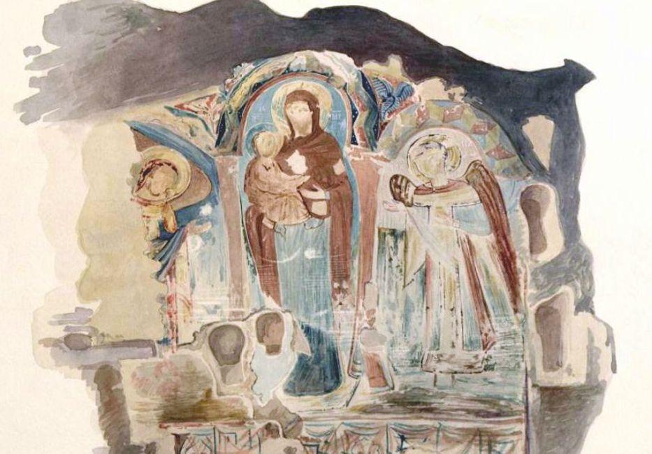 Вебель М.Б. Фрагменты фресковой живописи в пещерном храме.