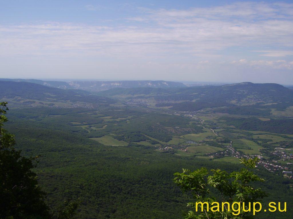 Вид со смотровой площадки горы Седам-Кая на село Коккозы (Соколиное).