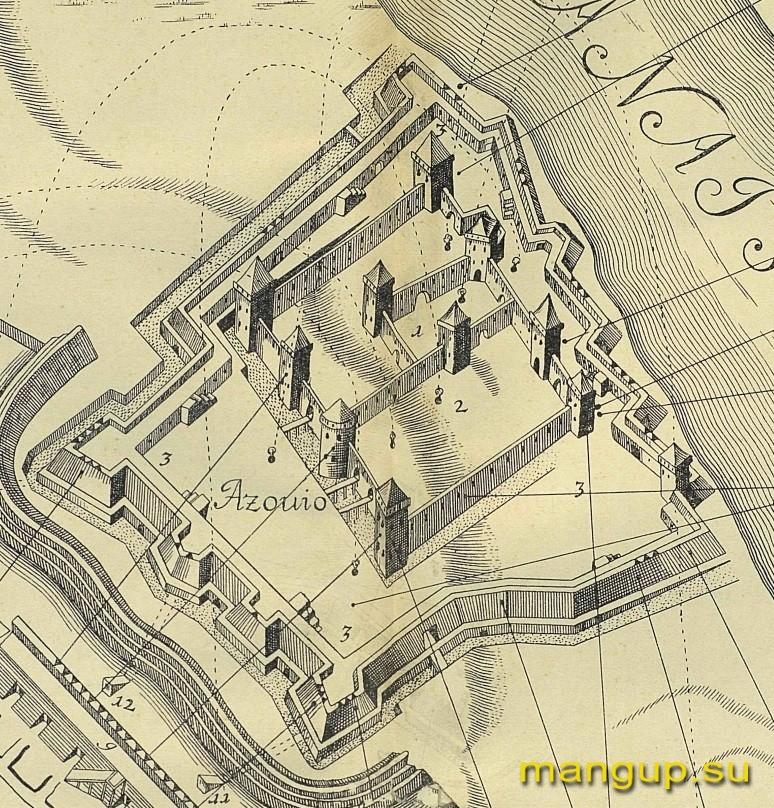 Корб И.Г. План турецкой крепости Азов с остатками генуэзских и венецианских укреплений (1699).