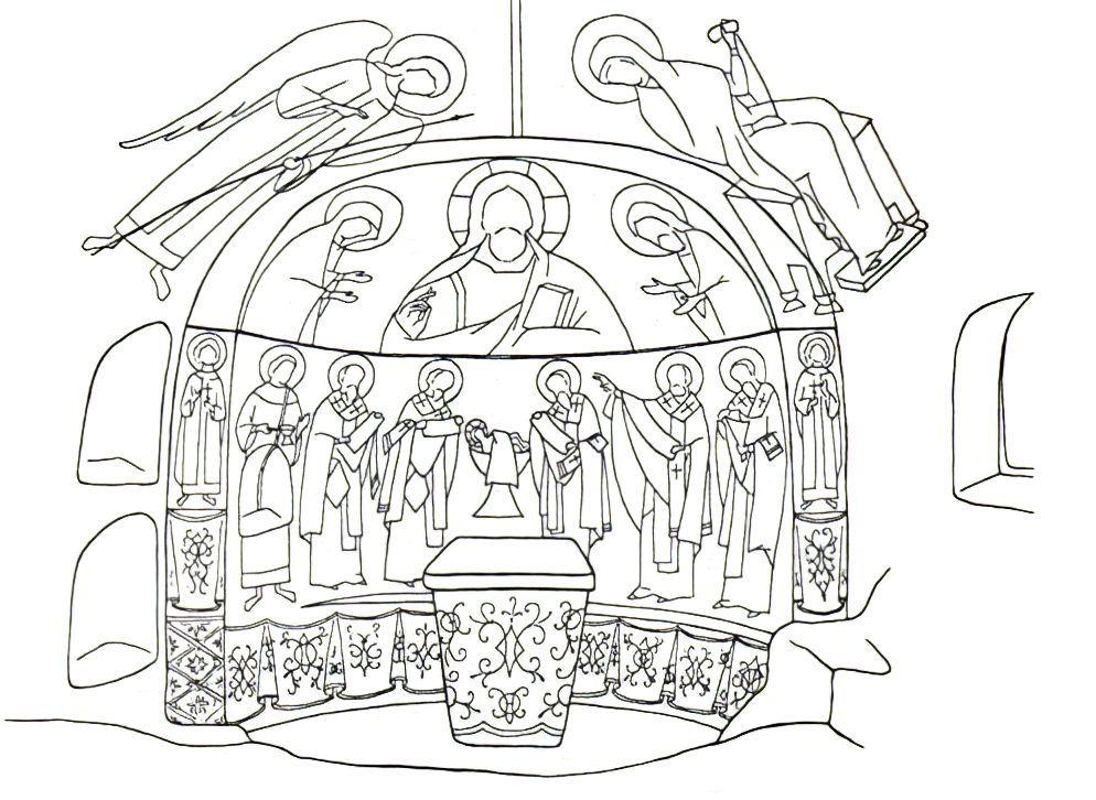 Черкес-Кермен. Храм «Донаторов». Схема росписи алтарной части по И.Г. Волконской.