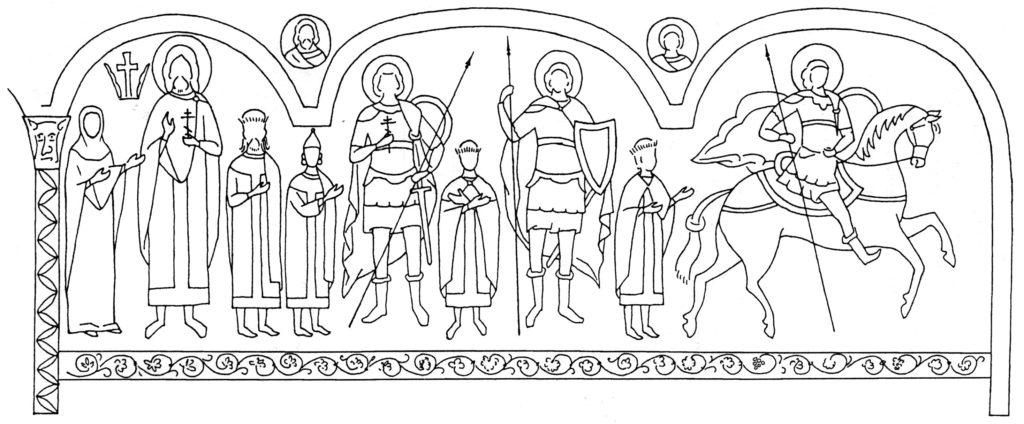Черкес-Кермен. Храм «Донаторов». Схема росписи северной и западной стен по И.Г. Волконской.