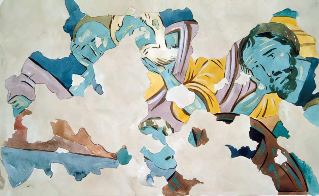 Эски-Кермен. Фрагмент фрески Успения Богородицы по И.Г. Волконской.