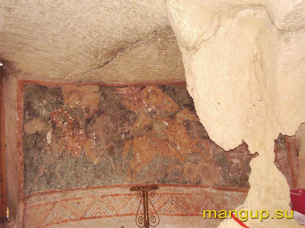 Эски-кермен. Фреска из храма Трех всадников.