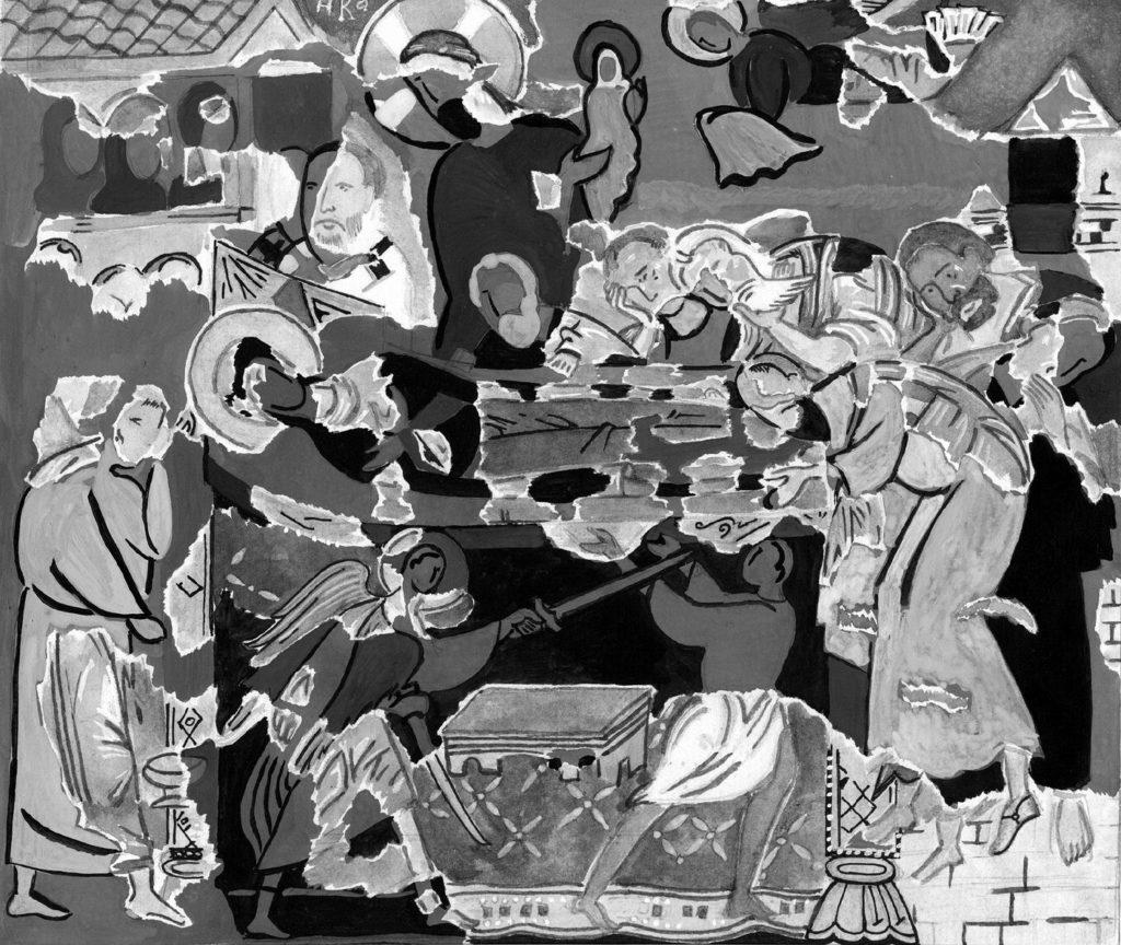 Эски-Кермен. Фреска Успения Богородицы в пещерном храме.