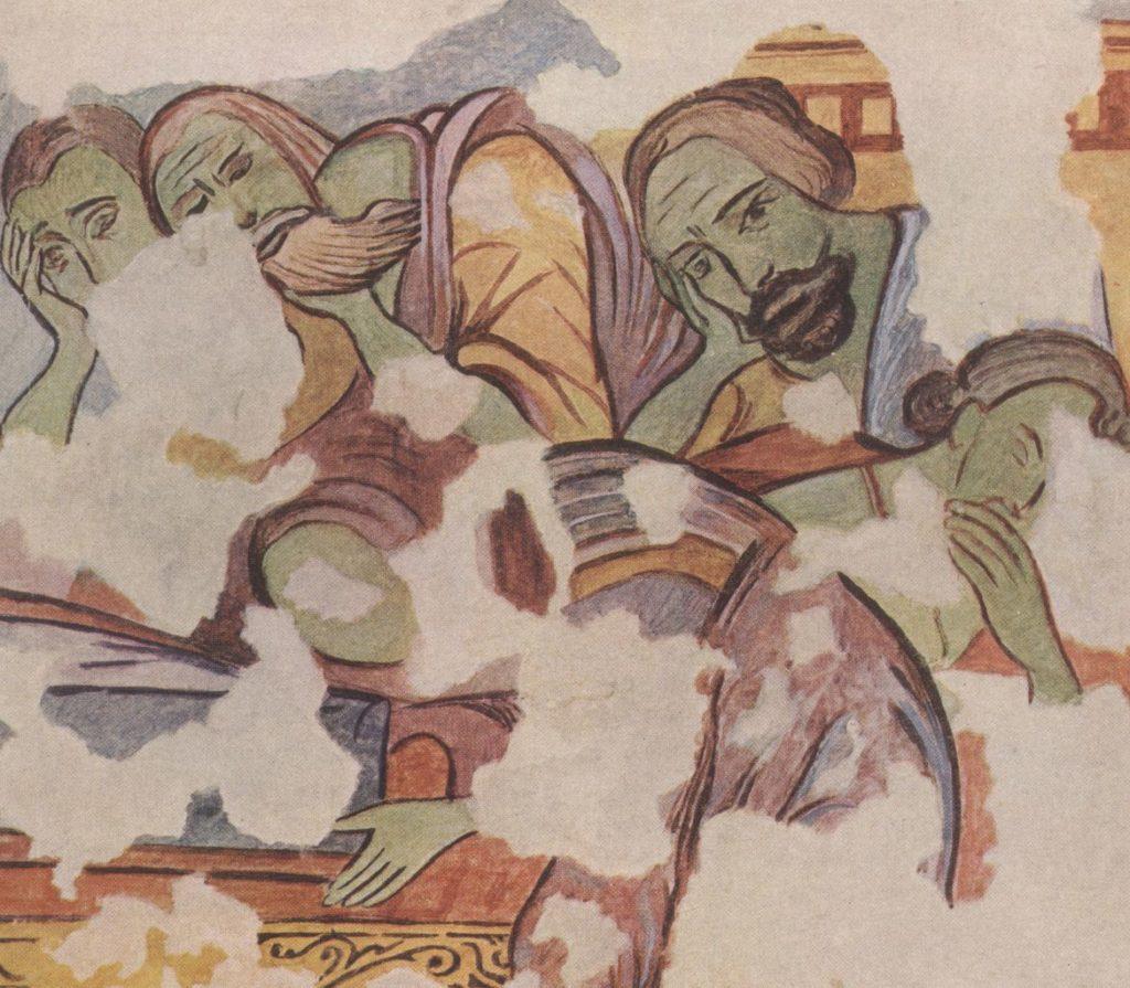 Эски-Кермен. Храм «Успения». Правая группа апостолов у ложа Богородицы по О.И. Домбровскому