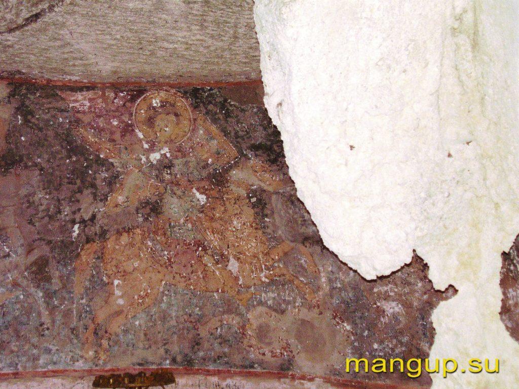 Эски-кермен. Святой воин, поражающий дракона. Фрагмент фрески из храма Трех всадников.