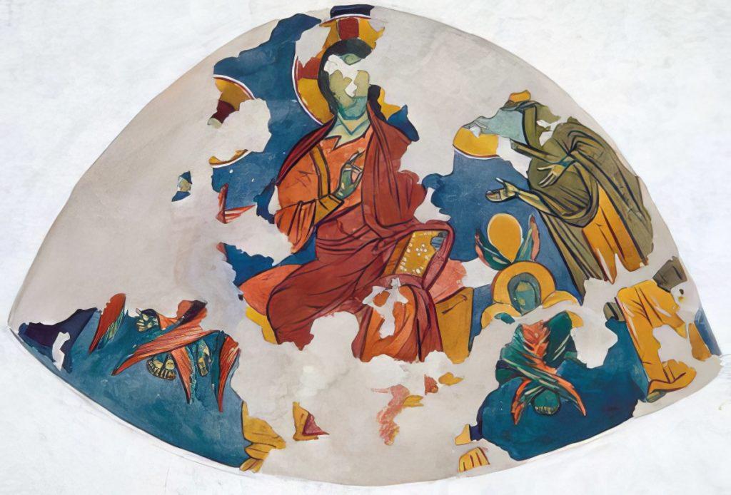 Христос на престоле. Фреска в конхе апсиды храма «Успения» по И.Г. Волконской.