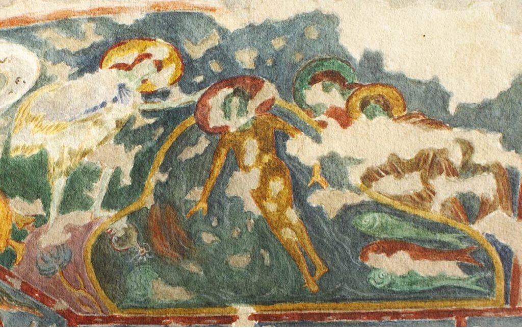 Крещение Господне. Фреска в храме «Успения» на Эски-Кермене.