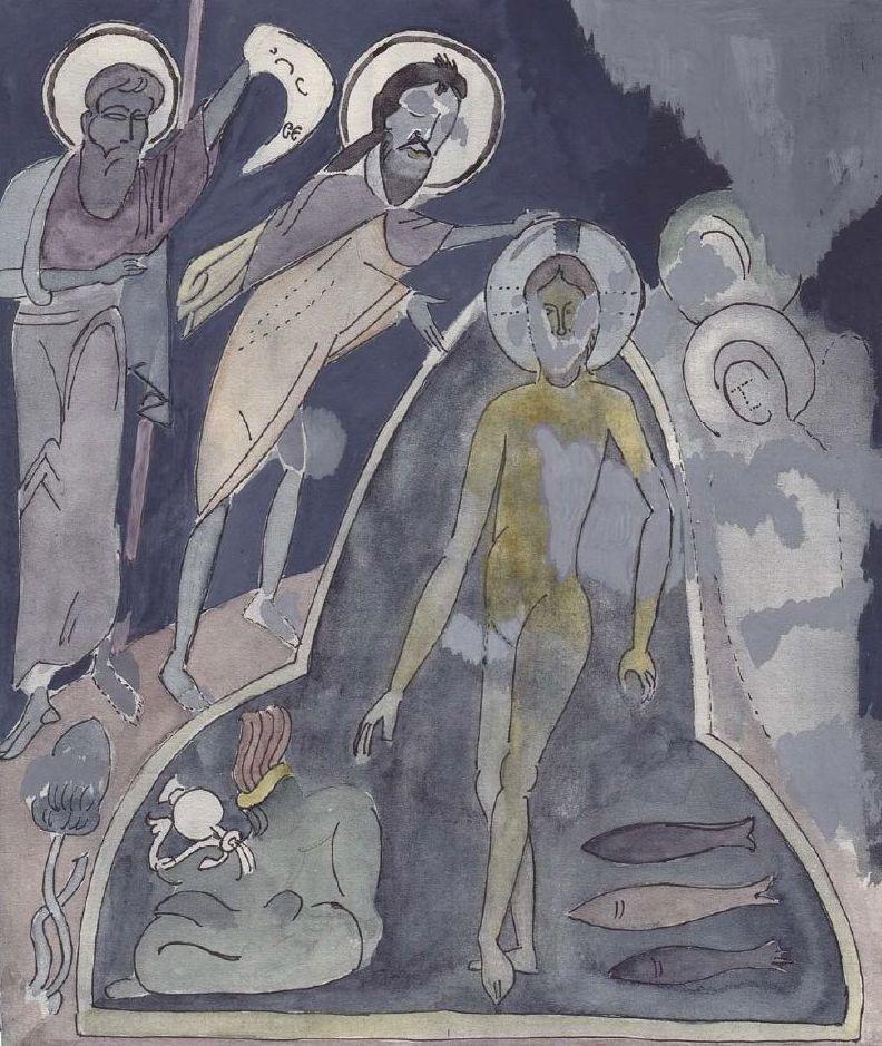 Крещение Господне. Фреска в храме «Успения».