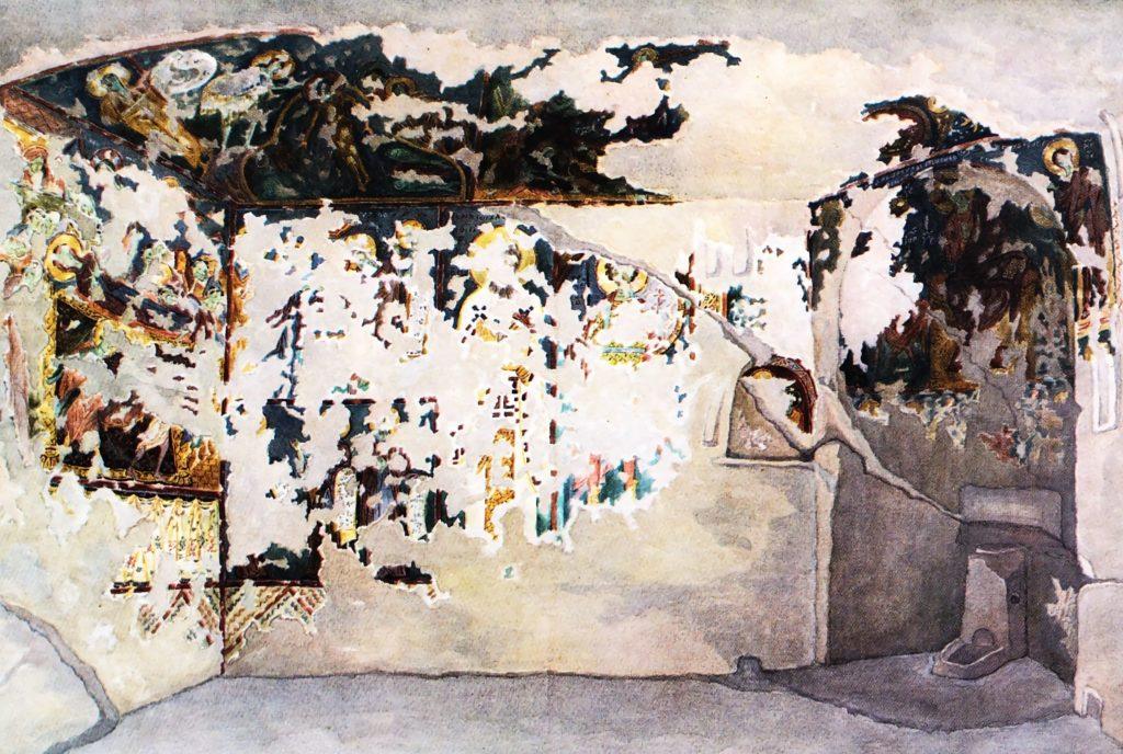 Роспись храма «Успения». Акварель Л. Линно и Г. Андреева, 1929.