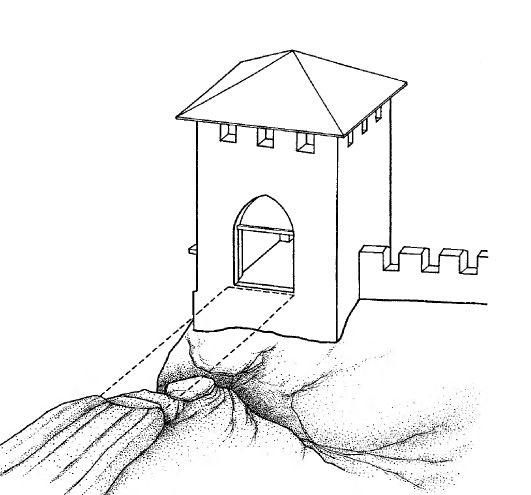 Предполагаемая реконструкция надвратной башни Кыз-Куле по В.П. Кирилко.