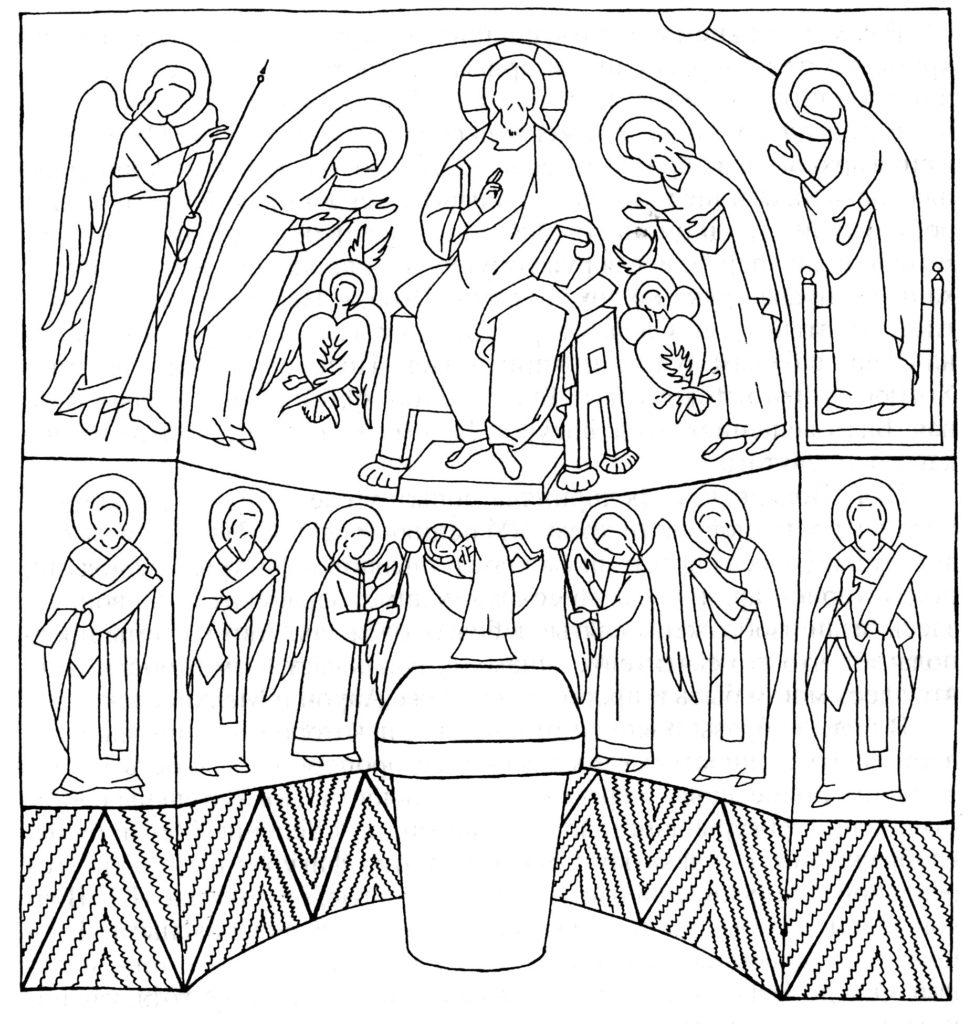 Схема росписи алтарной апсиды храма «Успения» по И.Г. Волконской.