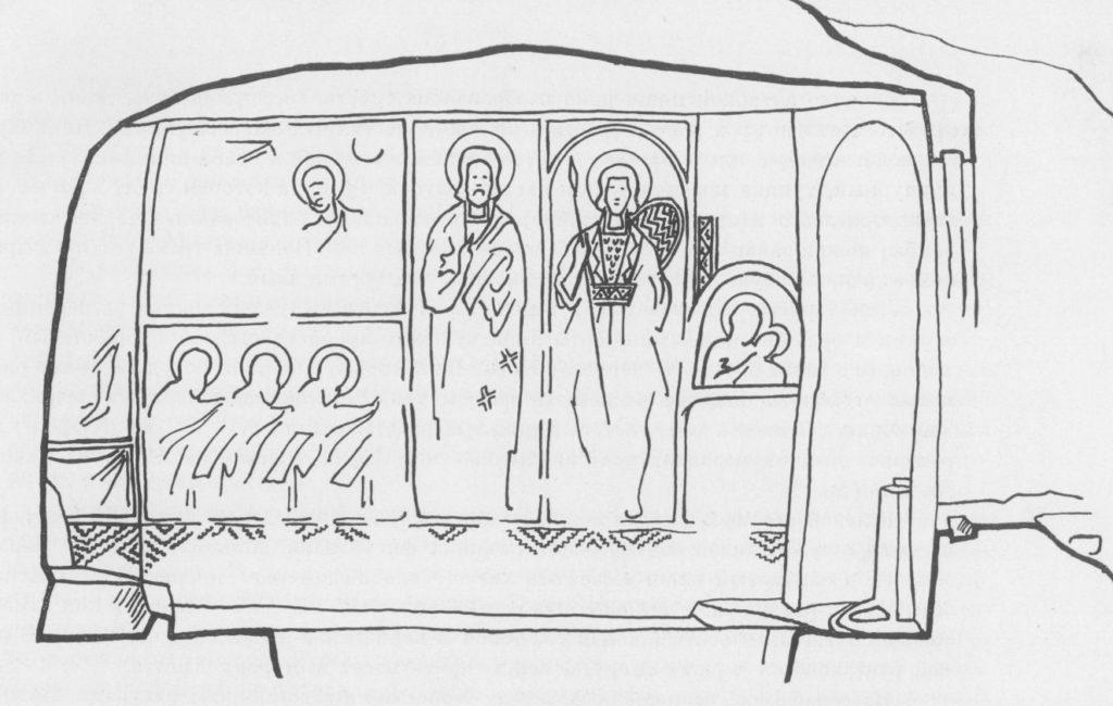 Схема росписи северной стены храма «Успения» по О.И. Домбровскому.