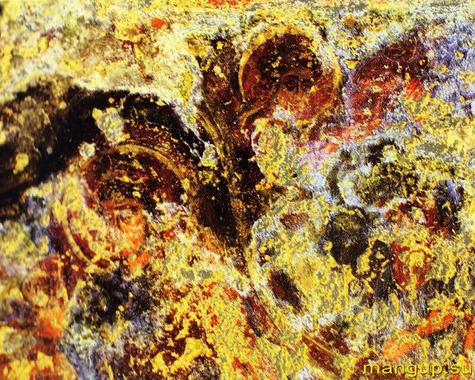 Фрагмент фресковой росписи, изображающей Рождество Христово в одном из пещерных храмов Загайтанской скалы (XIV в.).