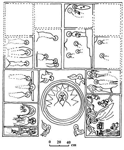 Загайтанская скала. Схема фресковой росписи свода наоса церкви св. Николая по Т.А. Бобровскому и Е.Е. Чуевой.