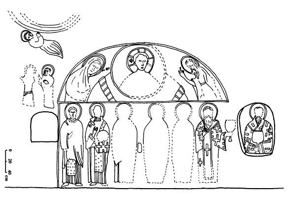 Загайтанская скала. Схема расположения композиций росписи в алтарной части церкви св. Николая по Т.А. Бобровскому и Е.Е. Чуевой.