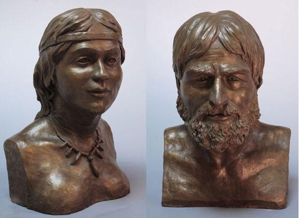 Мужчина и женщина из захоронения в пещере Мурзак-Коба. Реконструкция М. Герасимова.