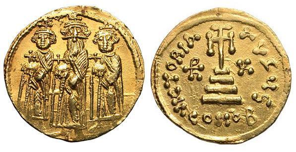 Византийский золотой солид императора Ираклия.