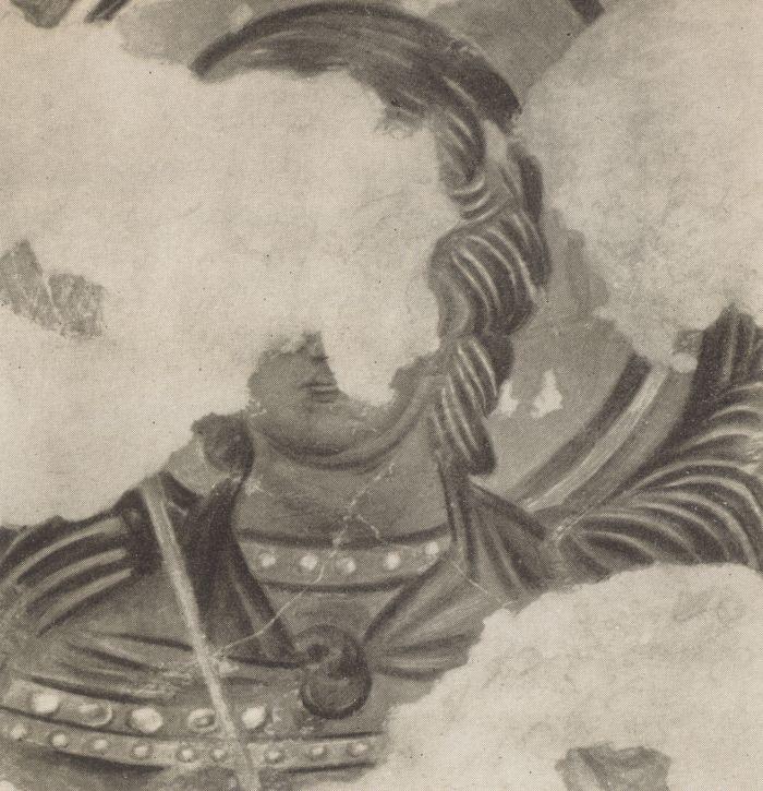 Архангел Михаил, фрагмент росписи Южного монастыря Мангупа