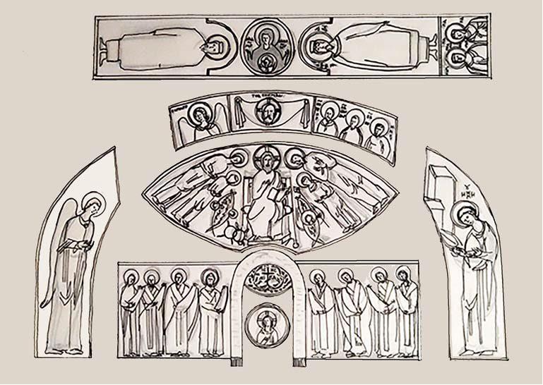 Схема-реконструкция росписи храма Южного монастыря Мангупа