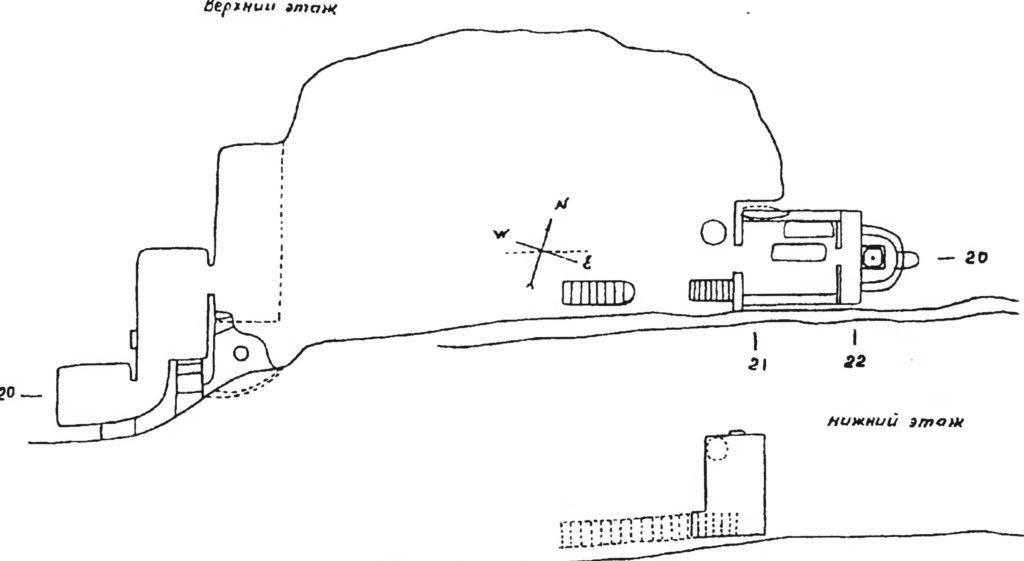 Мангуп. Южный монастырь по А.Л. Бертье-Делагарду.