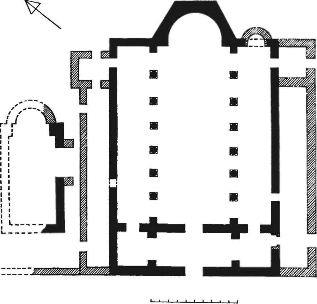 План Большой базилики Мангупа и крещальни VI-X вв.