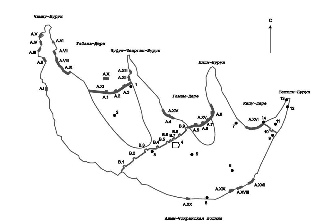 План оборонительных сооружений Мангупа феодоритского периода по А.Г. Герцену.
