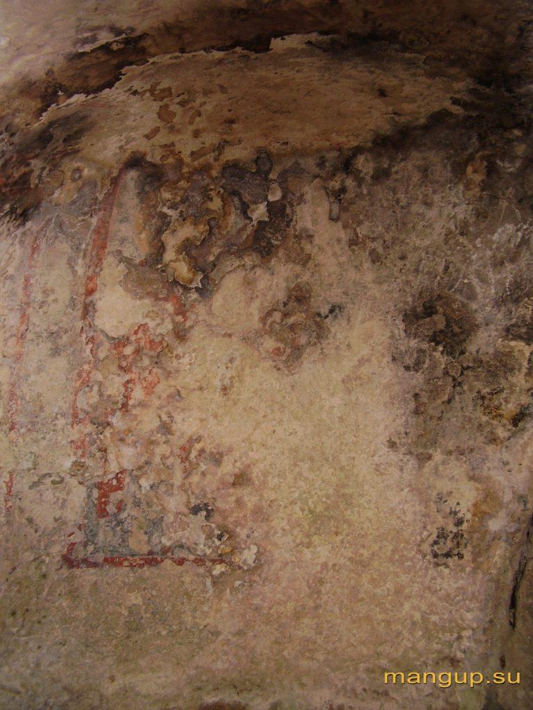 Пещерная церковь в Кильсе-дере в окрестностях Мангупа, остатки фресковой росписи.