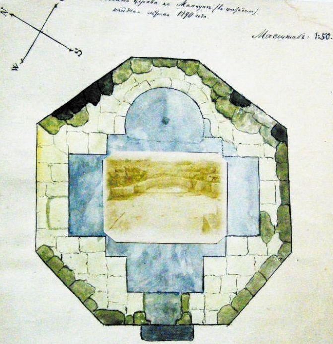 План Октагонального храма составленный Ф. Брауном