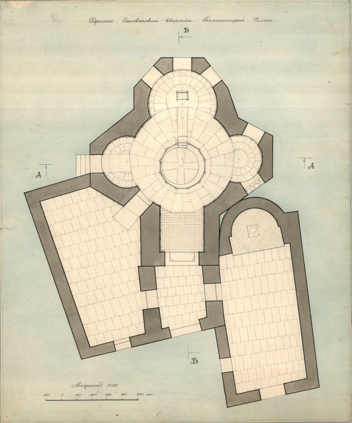 План крещальни Уваровской базилики в Херсонесе.