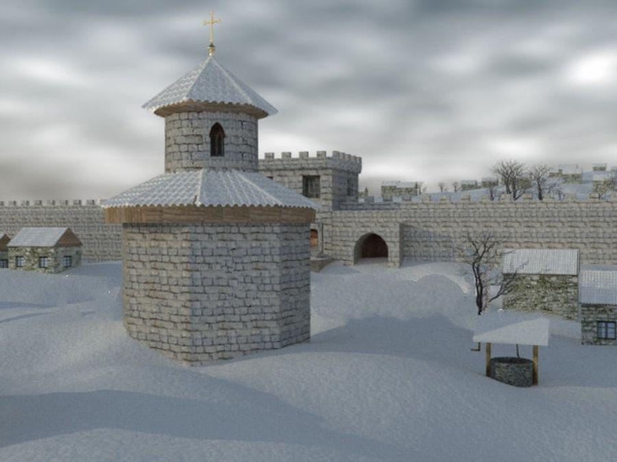 Октагональный храм и донжон цитадели Мангупа, 3D модель.