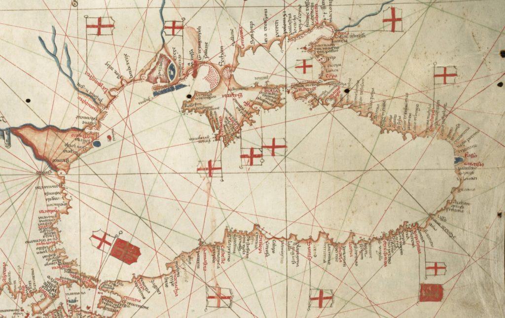 Генуэзские фактории в Черном море на карте Альбино де Канепа