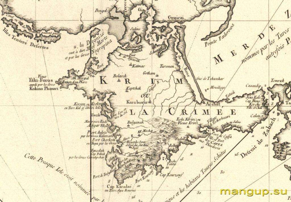 Жак Беллин. Уменьшенная карта Черного моря (1772).