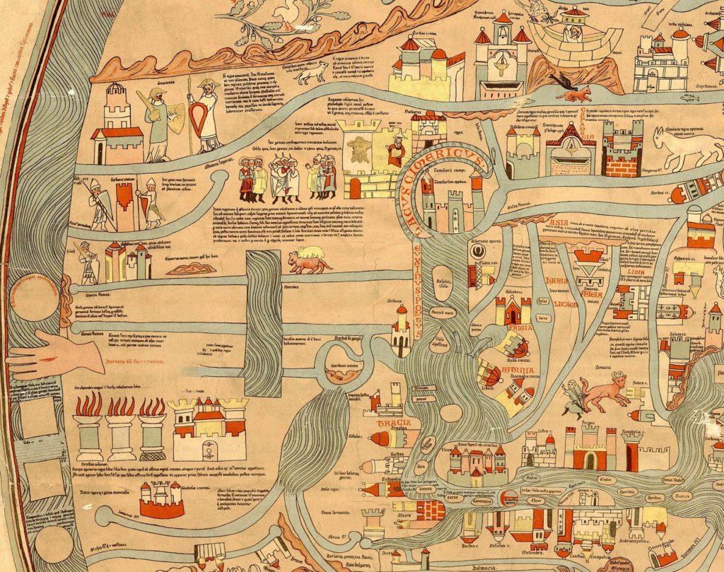 Фрагмент Эбсторфской карты с Северным Причерноморьем.