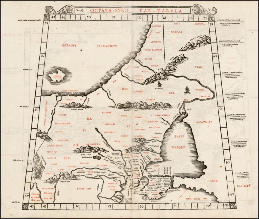 Карта Европейской Сарматии Б. Сильвануса