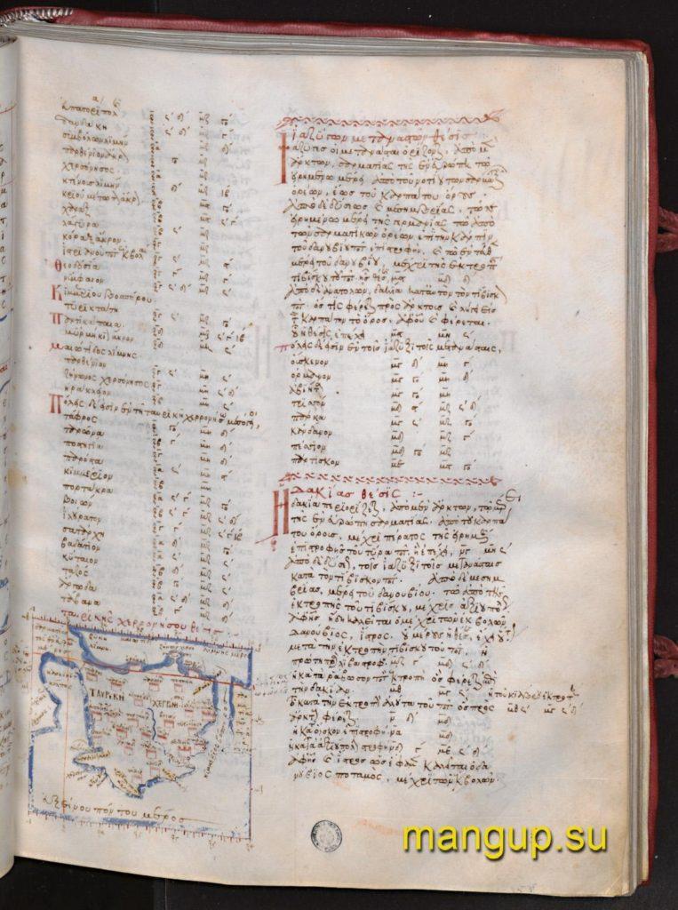 Описание Таврического полуострова с картой из рукописи Plut. XXVIII 49