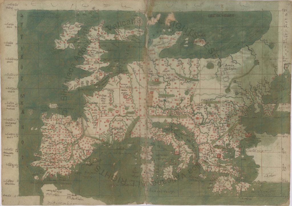 Фрагмент карты мира из кодекса Urb.gr.83
