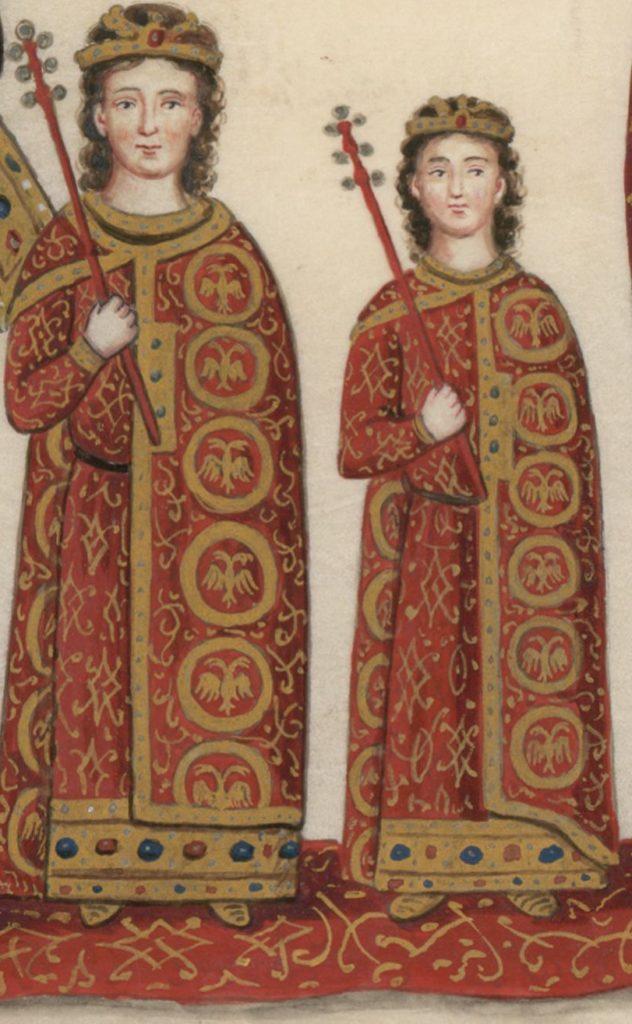Феодор и Андроник Палеологи реплика миниатюры XV века.