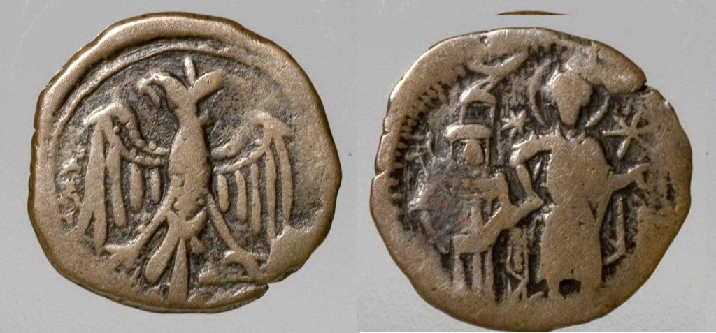 Анонимный византийский медный ассарион XIV века.