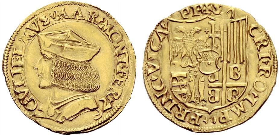 Двойной дукат Гульельмо IX Палеолога.